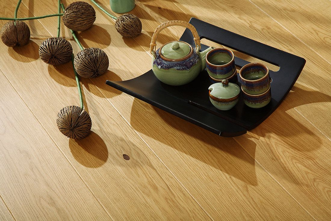 view of a tea set lying on the floor